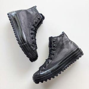 Converse CTAS Lift Ripple Hi Black/Black Size 8.5